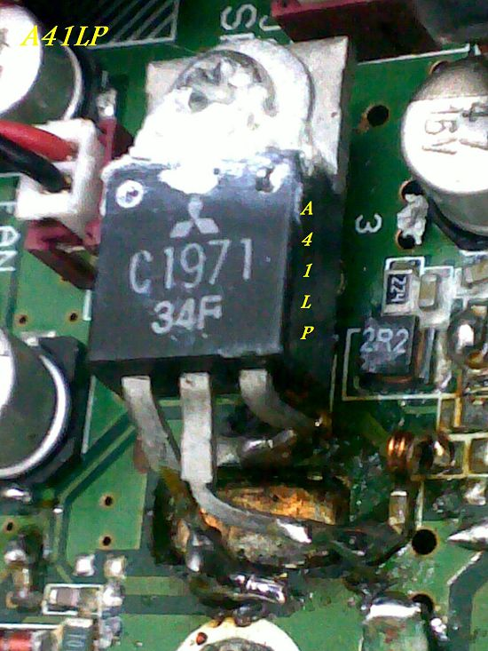 After the power transistor 2sc1971 blow up i have replace it with another 2sk3075